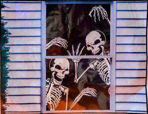 🎃 Halloween Backdrop Window Decor - Evil Crazed Skeletons