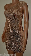 VICKY MARTIN sequin padded one shoulder gold pink fitted mini dress BNWT 10 12