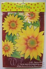 "New Fall Autumn Garden Banner Flag 12"" x 18"" Large Sunflowers Reads "" Welcome"""