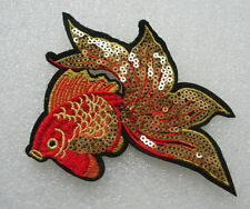 AN108 Colorful Gold Fish Embroidered Sequined Applique Sew On Punk/Fashion