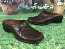 CLARKS 72202 Brown Leather Slides Clogs Mules Summer Shoes Size 8 M