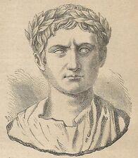 A4283 Busto di Augusto primo imperatore di Roma - Incisione Antica del 1887