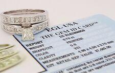 1.70 ct 14k Gold Princess Cut Diamond Engagement Ring Set EGL-USA Rtl $7,485
