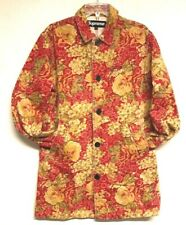 Supreme NY Womens Washed Work Trench Coat Brown Floral Cotton Denim size M Dress