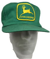 Vtg John Deere Snapback Trucker Cap Hat USA Green Embroidered