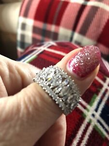 STUNNING SPARKLY RING SIZE T U XL SILVER TONE CHUNKY MARQUISE FAUX DIAMOND LARGE
