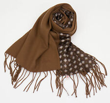 New In Box. BRIONI Men's Chocolate Brown 100% Cashmere Double Face Scarf $995