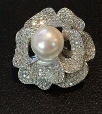 18K White Gold Flower Brooch Pin made w Swarovski Crystal Stone Bridal Jewelry