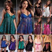 Plus Size Women Lace Lingerie Robe Dress Babydoll Nightgown Sleepwear Nightdress