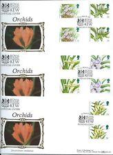 1993 BENHAM BLCS83 Set of 3 FDC's - ORCHIDS Gutter Pairs  BOTANIC GARDENS, Kew,