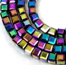 50 Czech Firepolish Glass Faceted Cube Beads 3-4mm - Metallic Peacock rainblow
