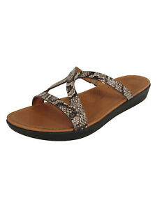 Fitflop Womens Strata Slide Snake Effect Leather Sandals
