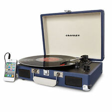 Crosley Cruiser Belt-Driven Portable 3-Speed Turntable In Blue CR8005A-BL New