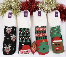 Womens Christmas Warm fluffy Slipper Socks Non Slip Gift Girls Sock Size 4-7