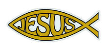 Magnetic Bumper Sticker - Ichthus Magnet (Gold Jesus, Christianity) - Fish