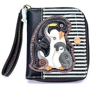 Chala Handbags Faux Leather Penguin Blue Stripe Zip Around Wristlet Wallet