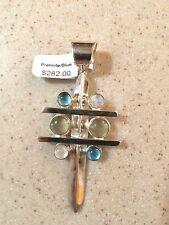 Cross pendant, sterling w/ prehnite, topaz & moonstone, Jay King Mine Finds NWT