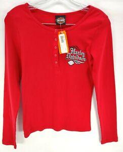 Harley-Davidson Women's Pullover Sweatshirt Red Longhorn Grand Prairie, TX Sz S