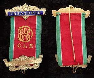 VINTAGE RAOB GLE COCKERBECK LODGE TREASURER BUFFALO GILT BREAST RIBBON PIN