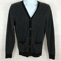 Express mens size S gray black 100% cotton buttoned v-neck knit cardigan sweater