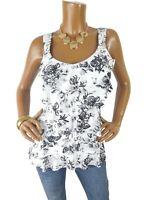WHITE HOUSE BLACK MARKET WHBM Women's S Top Floral Shirt Stretch Layers Wht/Blk