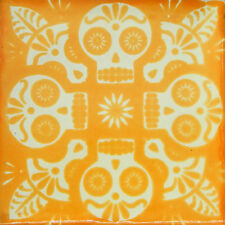 "Handmade Mexican Tile Sample Talavera Clay 4"" x 4"" Tile C396 Yellow Skull"