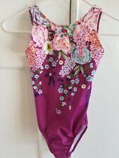 Sylvia P gymnastics leotard Boho Bloom purple floral Child 10 GUC