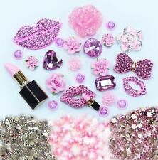 DIY 3D Pink Lips Alloy Bling Glass Gems Flatback Decoden Cabochons deco kit