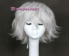 New Fashion Short Layered silver White Hair Wig + free wig cap