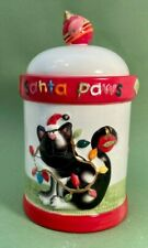 Dillard's Christmas 'Santa Paws' Cat Treat Canister with Freshness Seal Lid