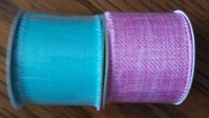 """2 Rolls of Burlap Ribbon 2""""x  3 yds. Spring and Easter Colors Crafts, Wreaths"""