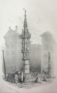 SWITZERLAND Fountain at Basel -  1838 Fine Quality Litho Print