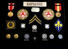 WW 2 U.S  Military Army Pins, Patches, Ribbons, Badges, Medals &Corporal Chevron
