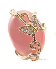 Elegant Pink Crystal Butterfly Decorative Oval Costume Jewellery Gold Ring