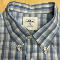 LL Bean Mens Long Sleeve Button Down Shirt White Blue Plaid Size XL Tall