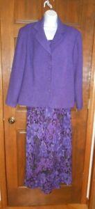 CHADWICK'S WOMEN'S TWO-PIECE DRESS SIZE 18W Purple & Black Print with Jacket