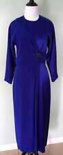 OLEG CASSINI Black Tie Blue Beaded Broach Long Sleeve Formal Dress Size 6 EUC