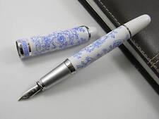 Jinhao Blue And White Porcelain Blue Flowers M Nib Metal Fountain Pen AB2