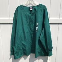 Scrubs Cherokee Workwear Unisex Snap Front Jacket Top Green Size 5XL NWT