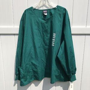 Scrub Jacket Top Cherokee Workwear Scrubs Unisex Snap Front Green Size 5XL NWT