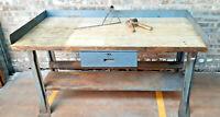 Vintage Maple Top Work Bench Classic heavy Duty Metal legs Top 30 x60 USA TMcd