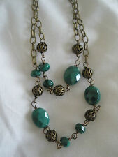 "18"" Brasss Double Strand Antique Brass and Malachite Beads Vintage Necklace"