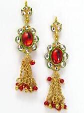 Indian Kundan Earrings Gold Tone Fashion Wedding Latkan Jewellery Belly Dance