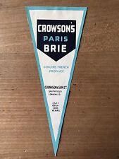Antique Packaging Label Crowdons Paris Brie Cheese Paper Graphics Vintage