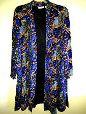 Susan Graver Women's  Multicolor Polyester Novelty Knit Duster Cardigan ~Size 3X