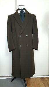 Vtg Pierre Cardin Polo Coat Olive Green Wool Double breasted Long  Overcoat ~46