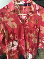 Angeligne Dark Pink Flowered Sequined Blouse Womens Med