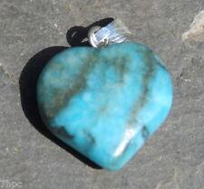 Blue Chalcedony Crystal Gemstone Heart Pendant Reiki Blessed + Lavender Gift Bag