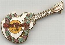 Hard Rock Cafe HONOLULU 1990s LEI on WHITE Ukulele GUITAR PIN HRC Catalog #3084