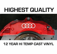 Audi HI - TEMP CAST VINYL BRAKE CALIPER DECALS STICKERS